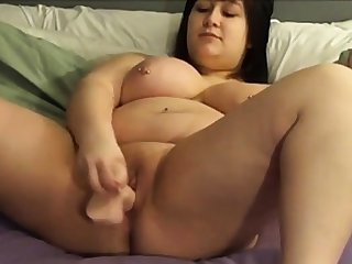 BBW shoves a dildo in herself on cam 2
