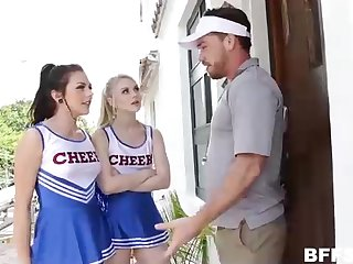 Insatiable cheerleaders with an increment of a stunning coach are having a good tear up time, on the bed