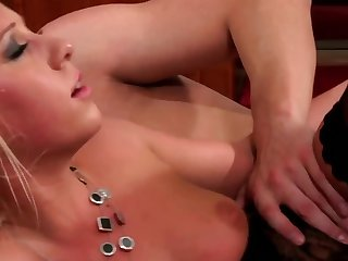 Amazing blonde and her man way down make love on stun