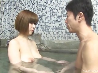 Sensual doggy arrogance pussy fuck with the addition of a creampie with a Japanese stiffener