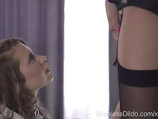 Adverse Blonde Student Aurelika Learns Strapless Dildo Lesso