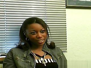 Ebony amateur filmed at authoritative porn casting audition