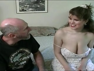 Tessa with a aged fart - big mammaries