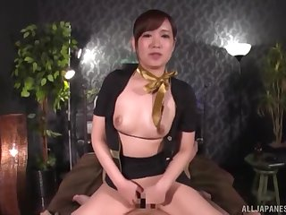 Clothed cock riding innings with Japanese secretary Natsuki Minami