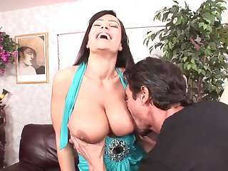 Big dicked guy has fun up busty porn babe Lisa Ann