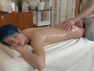 Amazing and oiled Amy Become fixed enjoys sexual relations on the massage table