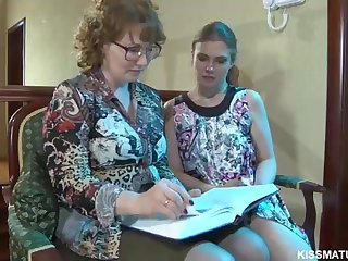 Blond Russian mature is about to poke a new all girl unsubtle with a cord- on