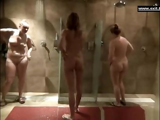 Gorgeous milfs in a public shower enclosure