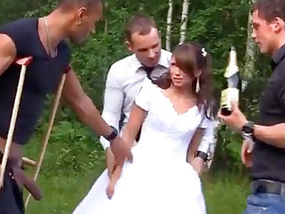 Russian china enjoys an interracial gang-bang outdoors