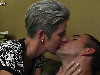 Mature skinny mom fucks her son's join up