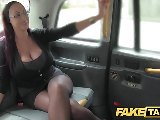 Fake Taxi Secretary looking nipper with huge tits and wet puss