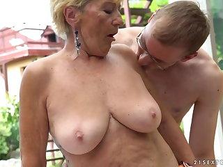 Granny fucks tag along to a pool