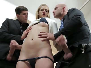 Hardcore MMF threesome with skinny blonde Violette Pure