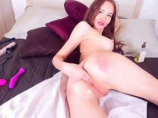 Hot Redhead Fingers Say no to Ass Increased by Pussy