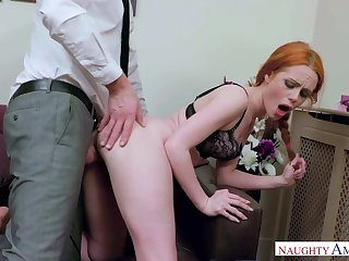 Crimson haired tear around female, Ella Hughes got wedged with a gigantic manmeat, until she came
