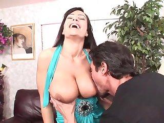 Big dicked guy has fun up busty porn babe Lisa Ann