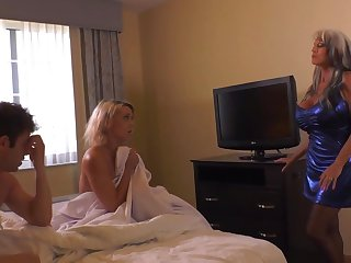 Insatiable blond damsel plus say no to naughty pals are having a threeway, in a motel apartment
