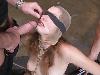 Kinky perverts fuck deep throat and anus of tied up and restrained bitch Ella Morning star