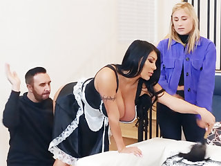 Contemporarily shy maid's fume keester around danger