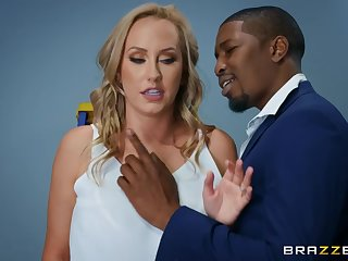 Interracial making love in the office with Brett Rossi & Isiah Maxwell