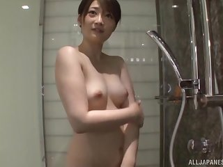 Amatuer fit together Ikushima Ryou takes a shower and teases with her cunt