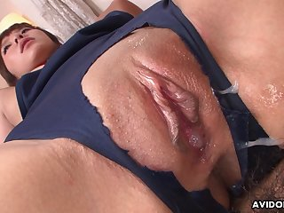 Elegant Japanese babe enjoying some juicy creampie after a passionate make the beast with two backs