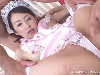 Beamy dick impenetrable depths in euphoric pussy of Koyuki Matsumoto during a 3-way