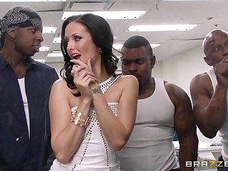 Wild interracial gangbang alongside transcribe penetration for Hailey Young