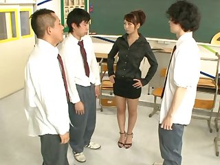 Handsome Japanese tutor Yuki Jin drops on her knees to be fucked