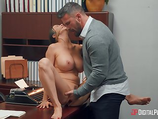 Gorgeous MILF Alexis Fawx lets loose in an office setting